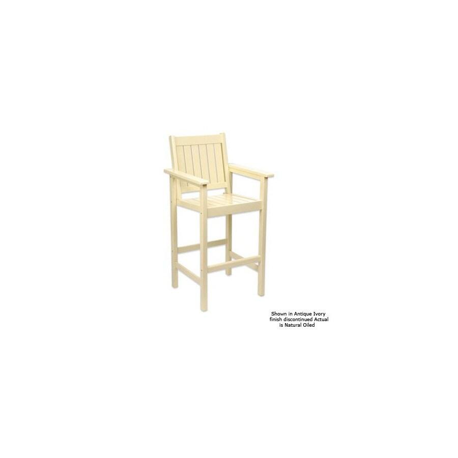 ACHLA Designs Slat Seat Wood Patio Bar-Height Chair
