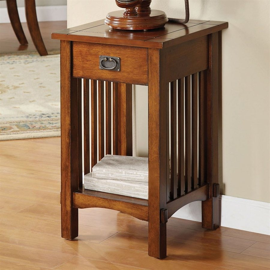 Furniture of America Valencia Antique Oak Square Telephone Stand