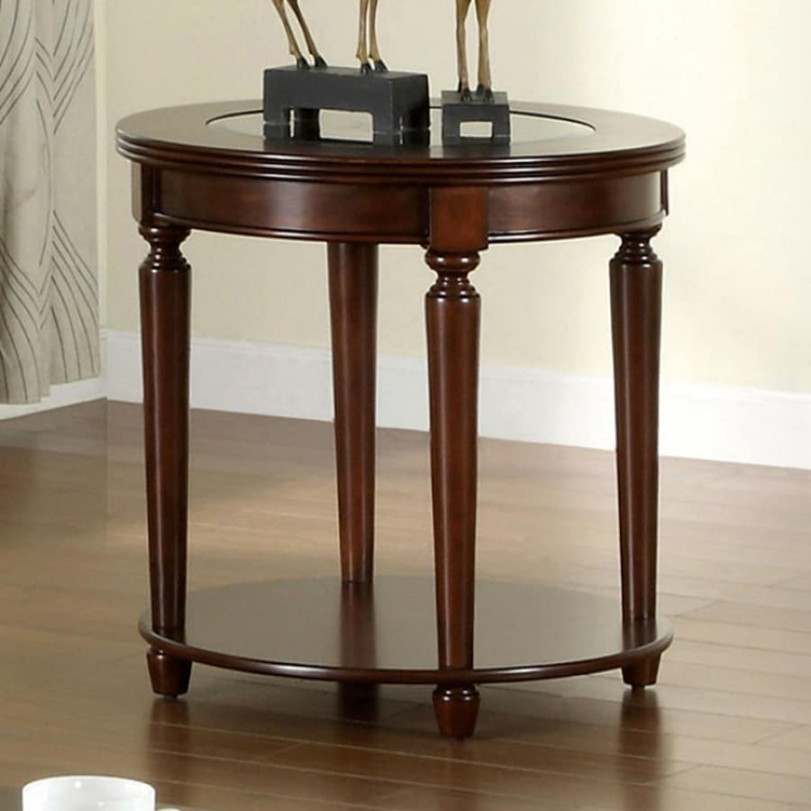 Shop furniture of america granvia dark cherry round end for Furniture of america