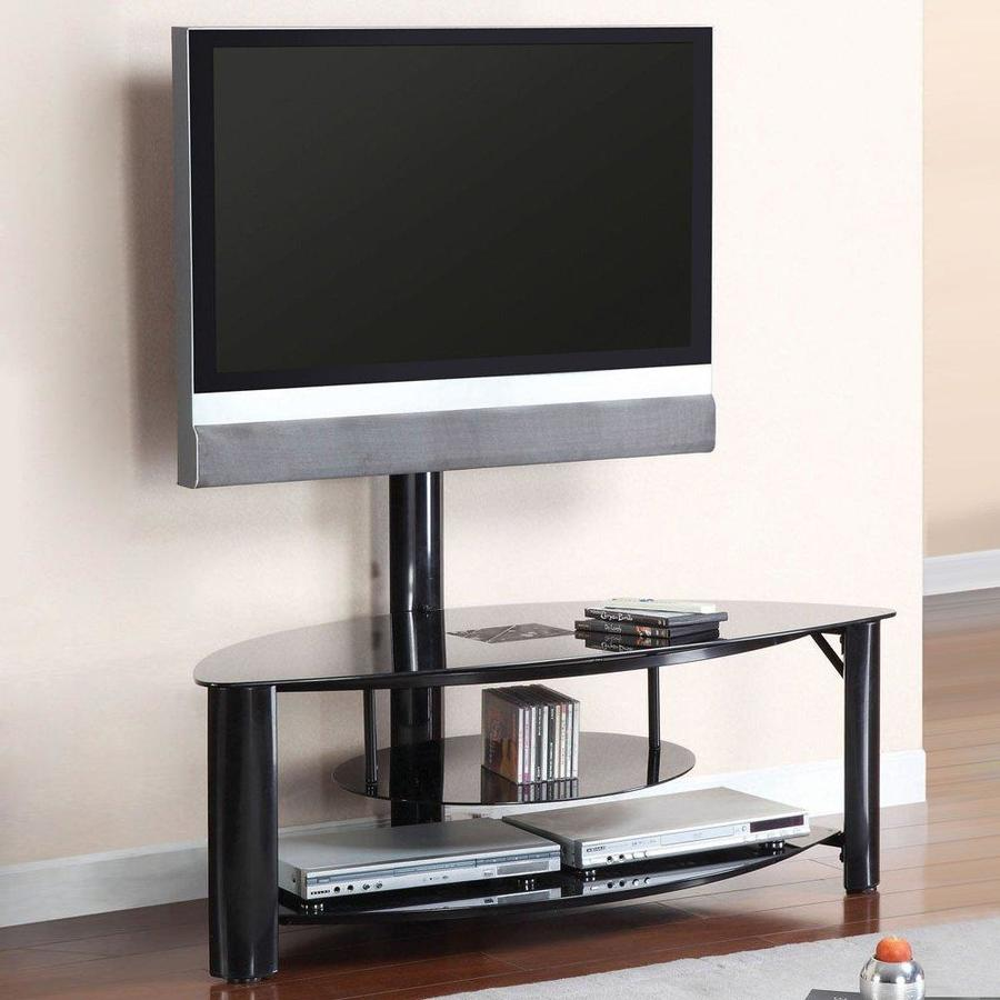 Furniture of America Fendy Black Half-Round Integrated Mount TV Stand
