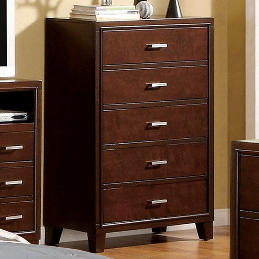 Furniture Of America Enrico Brown Cherry 5 Drawer Dresser