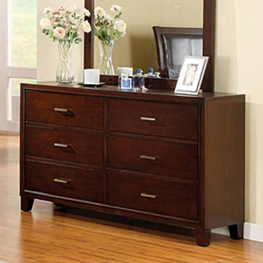 Furniture of America Enrico Brown Cherry Pine 6-Drawer Dresser