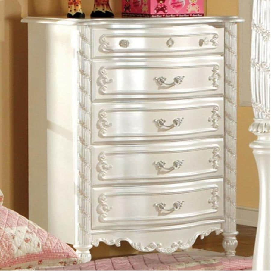 Furniture of America Alexandra Pearl White 5-Drawer Dresser