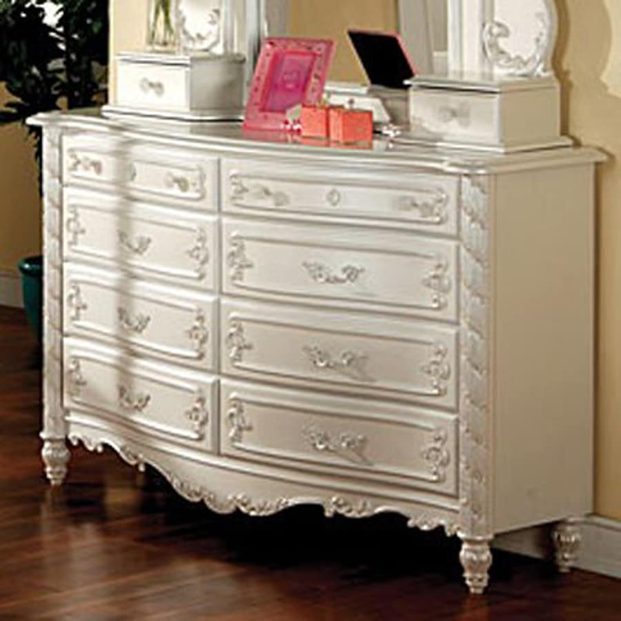 Furniture of America Victoria Pearl White 8-Drawer Dresser