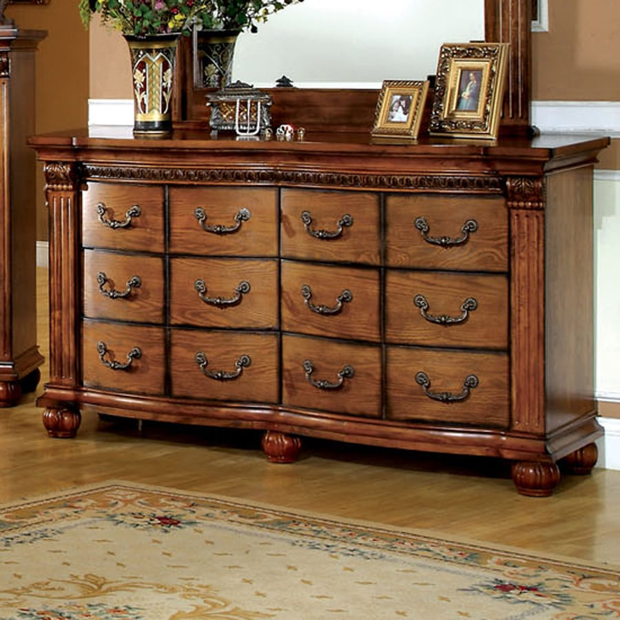 Furniture of America Bellagrand Antique Tobacco Oak 6-Drawer Dresser