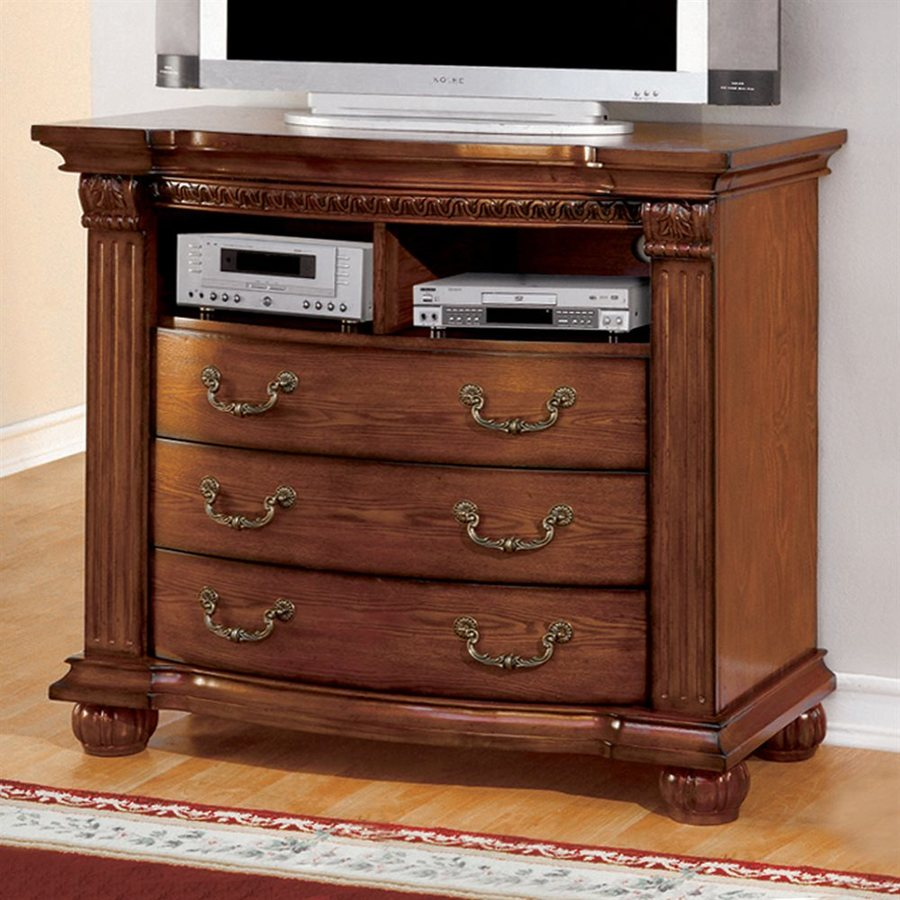 Furniture of America Bellagrand Antique tobacco Oak TV Cabinet
