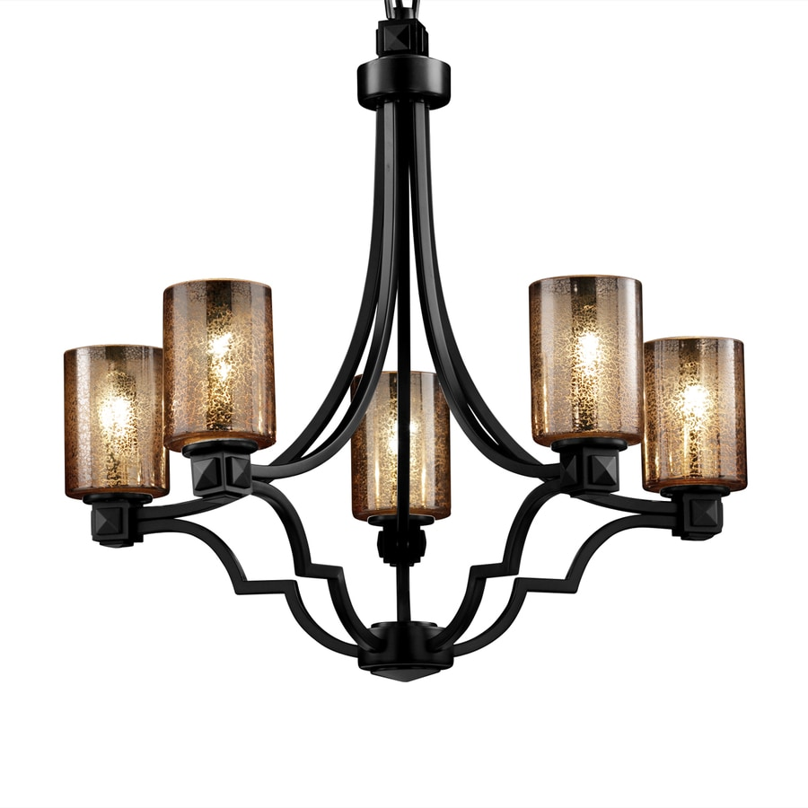 Cascadia Lighting Fusion Argyle 28-in 5-Light Matte Black Wrought Iron Hardwired Mercury Glass Shaded Standard Chandelier