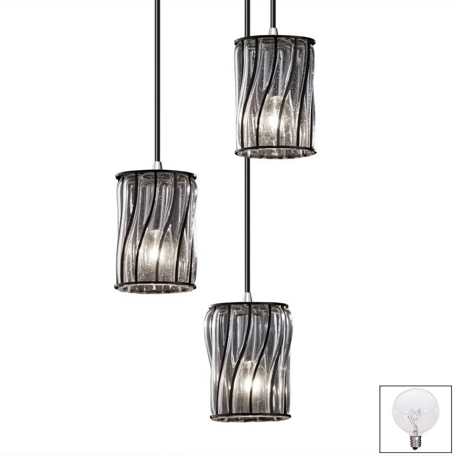 Cascadia Lighting Wire Glass H Nickel Multi-Pendant Light with Clear Glass  Shade