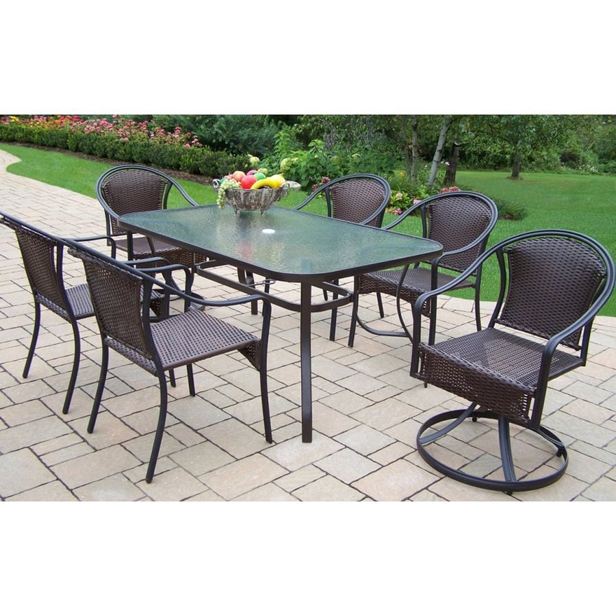 living tuscany 7 piece glass dining patio dining set at