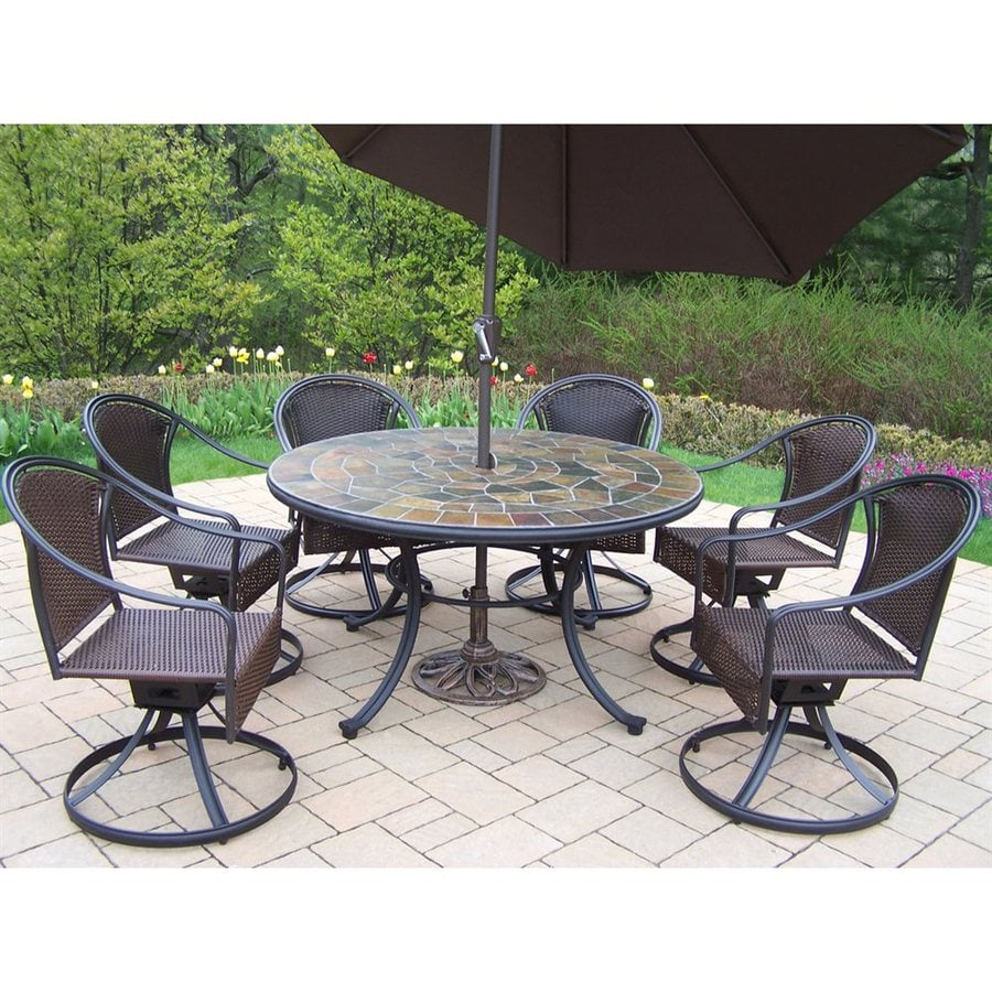 Shop oakland living stone art 7 piece stone patio dining for Round patio chair