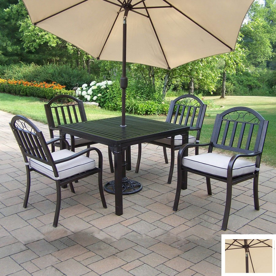 Beau Oakland Living 5 Piece Cushioned Wrought Iron Patio Dining Set