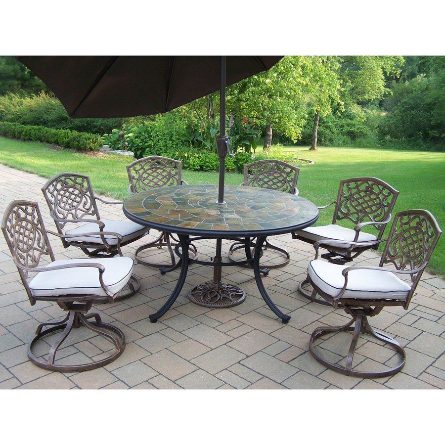 Oakland Living Stone Art 8-Piece Antique Bronze Stone Dining Patio Dining Set