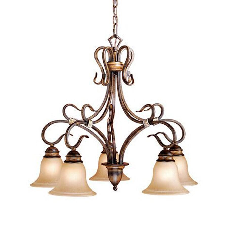 Cascadia Lighting Berkeley 26-in 5-Light Aged Walnut Mediterranean Tinted Glass Shaded Chandelier