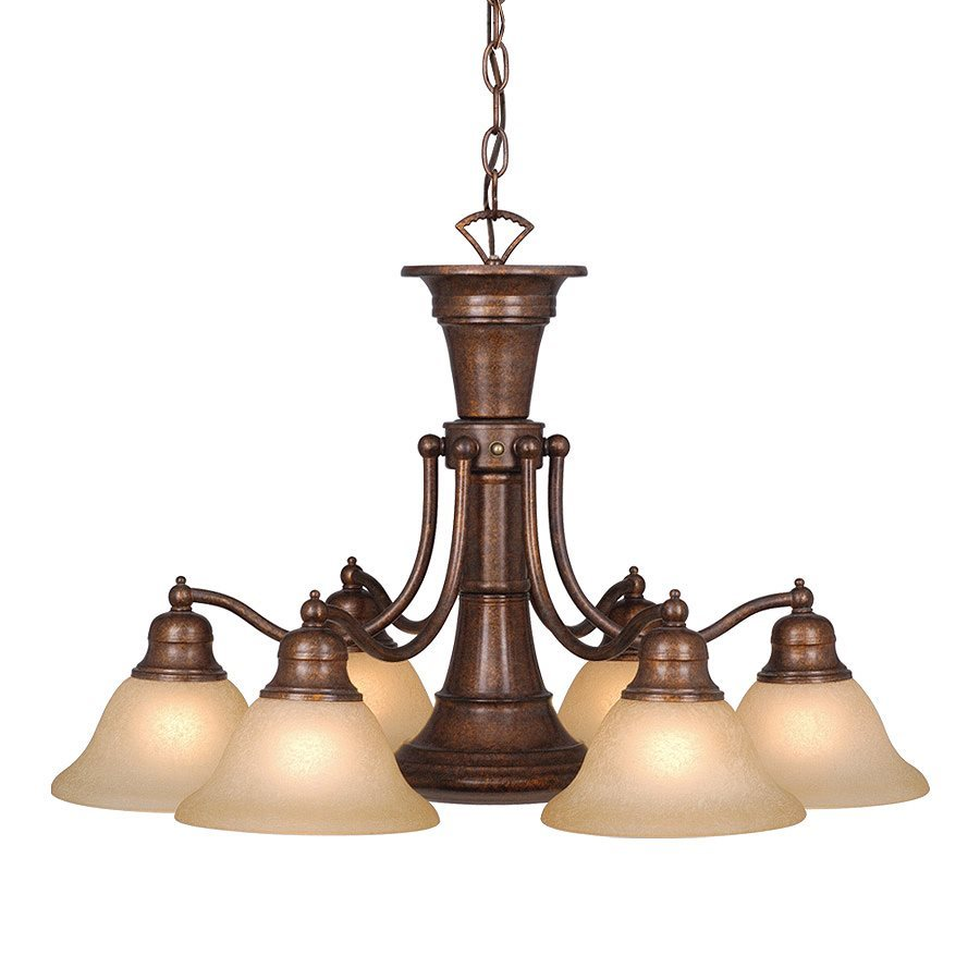Cascadia Lighting Standford 26-in 7-Light Royal bronze Tinted Glass Shaded Chandelier