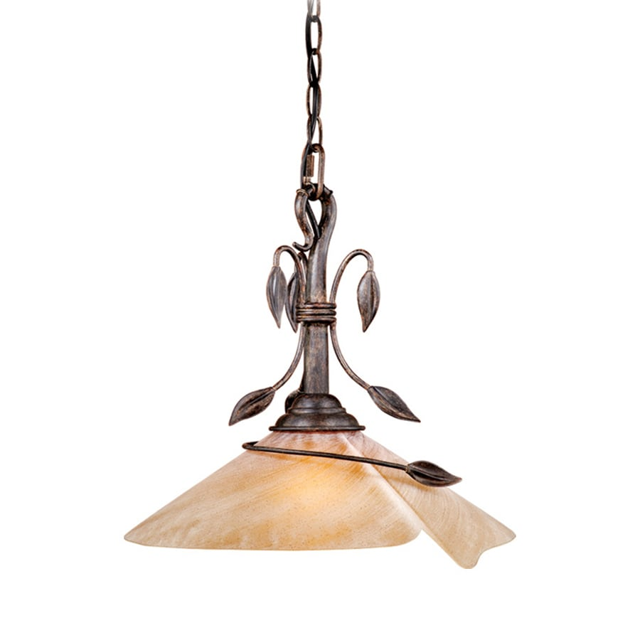 Cascadia Lighting Capri 15-in Black Walnut Rustic Single Tinted Glass Cone Pendant