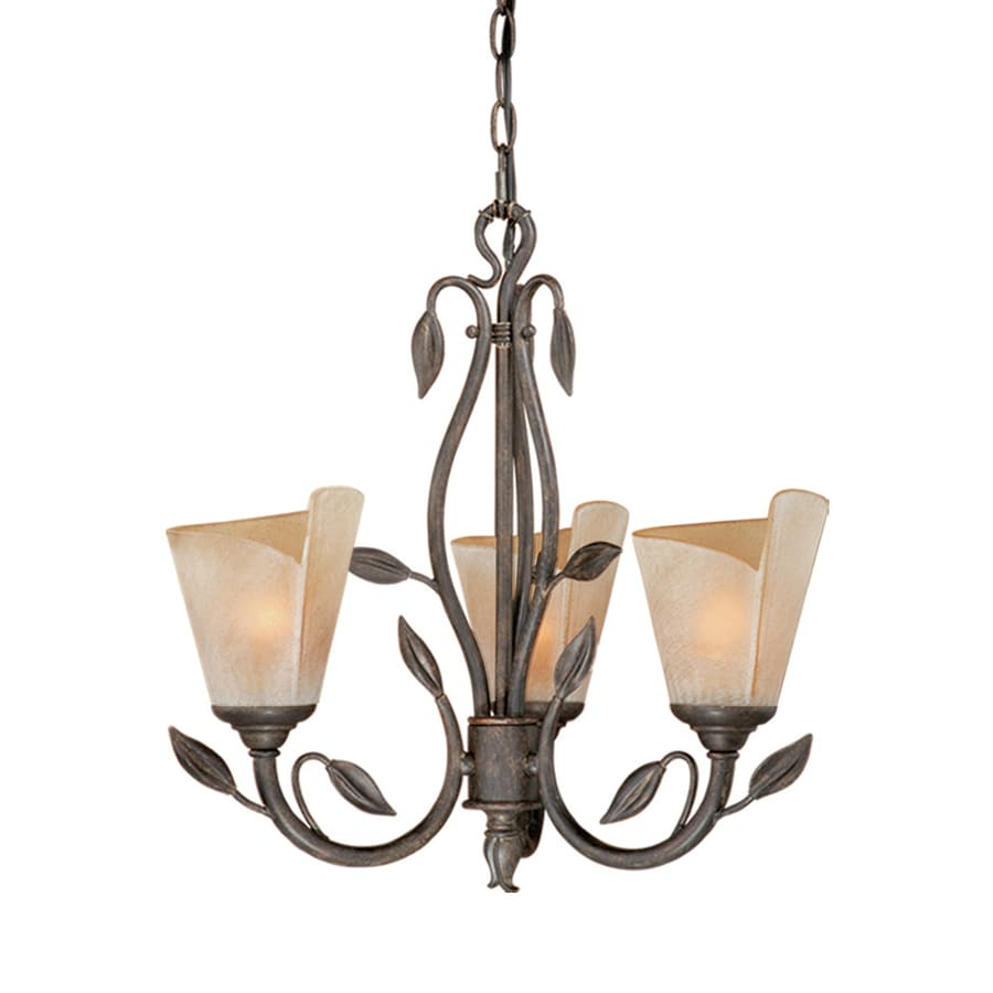 Cascadia Lighting Capri 20-in 3-Light Black Walnut Vintage Tinted Glass Shaded Chandelier