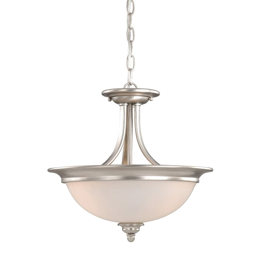 Cascadia Lighting Avalon 15-in W Brushed Nickel Frosted Glass Semi-Flush Mount Light