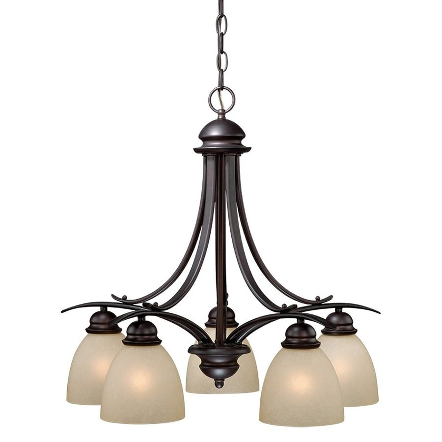 Cascadia Lighting Avalon 24.5-in 5-Light Oil-Burnished Bronze Craftsman Tinted Glass Shaded Chandelier