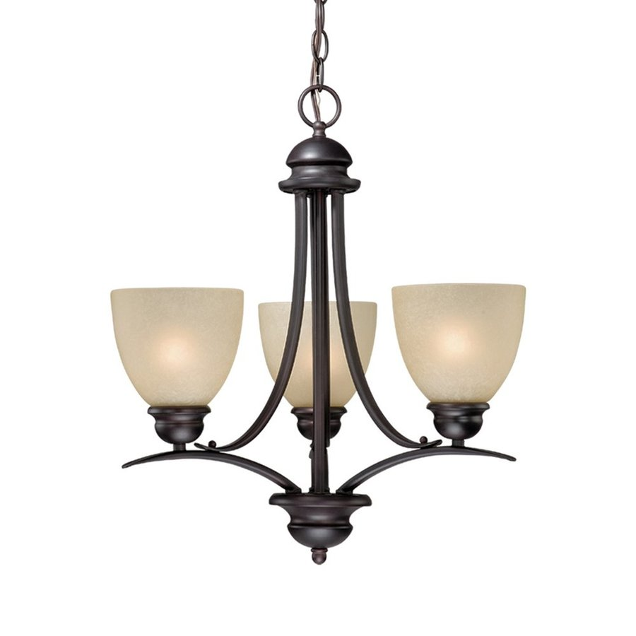 Cascadia Lighting Avalon 20-in 3-Light Oil-Burnished Bronze Tinted Glass Shaded Chandelier