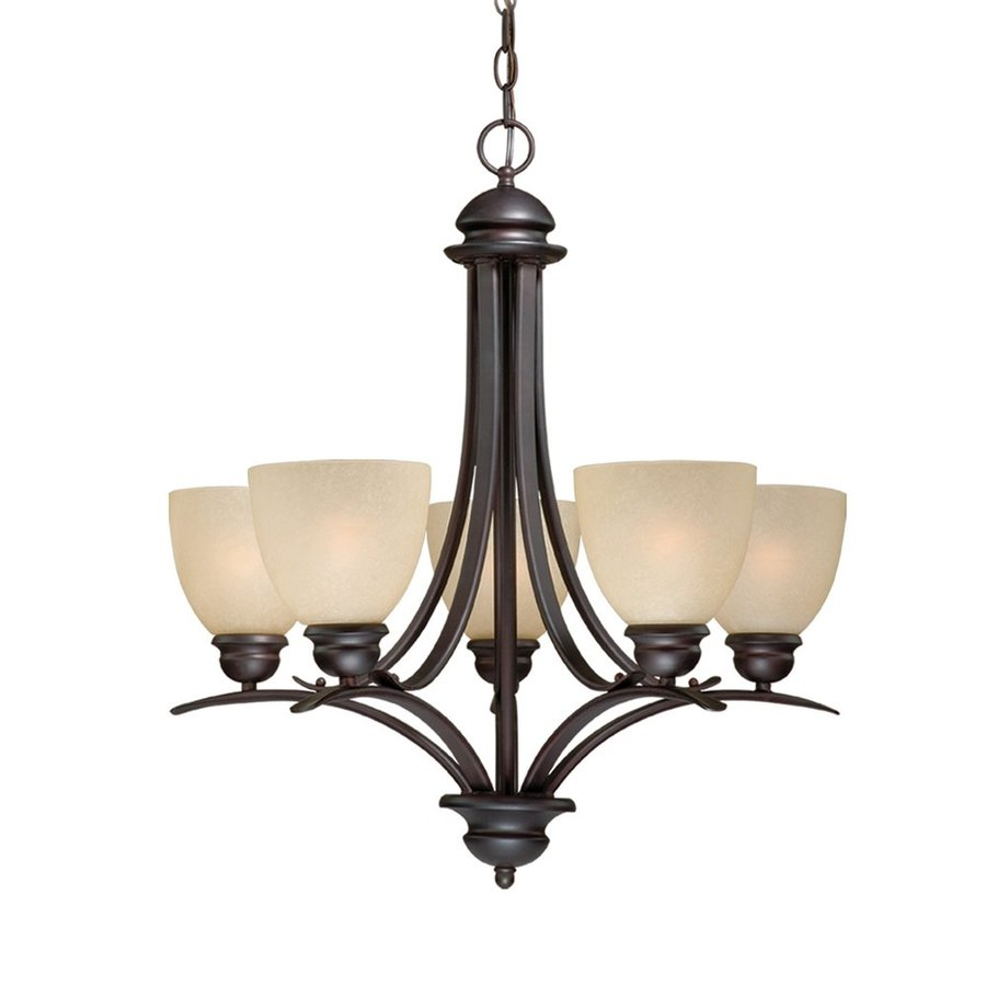 Cascadia Lighting Avalon 25-in 5-Light Oil-Burnished Bronze Craftsman Tinted Glass Shaded Chandelier