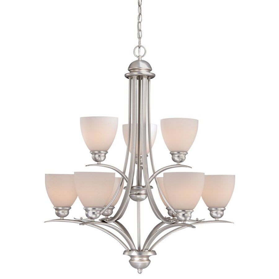 Cascadia Lighting Avalon 29.5-in 9-Light Brushed Nickel Tiered Chandelier