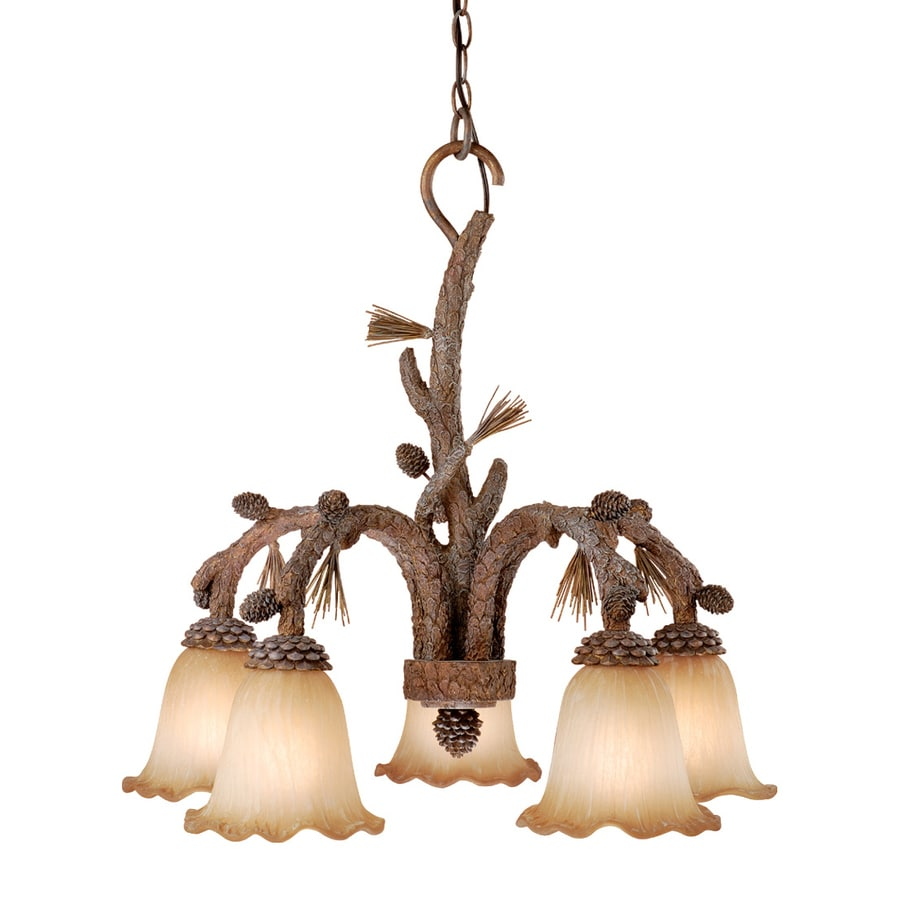 Cascadia Lighting Aspen 26.5-in 5-Light Pine Tree Rustic Tinted Glass Shaded Chandelier