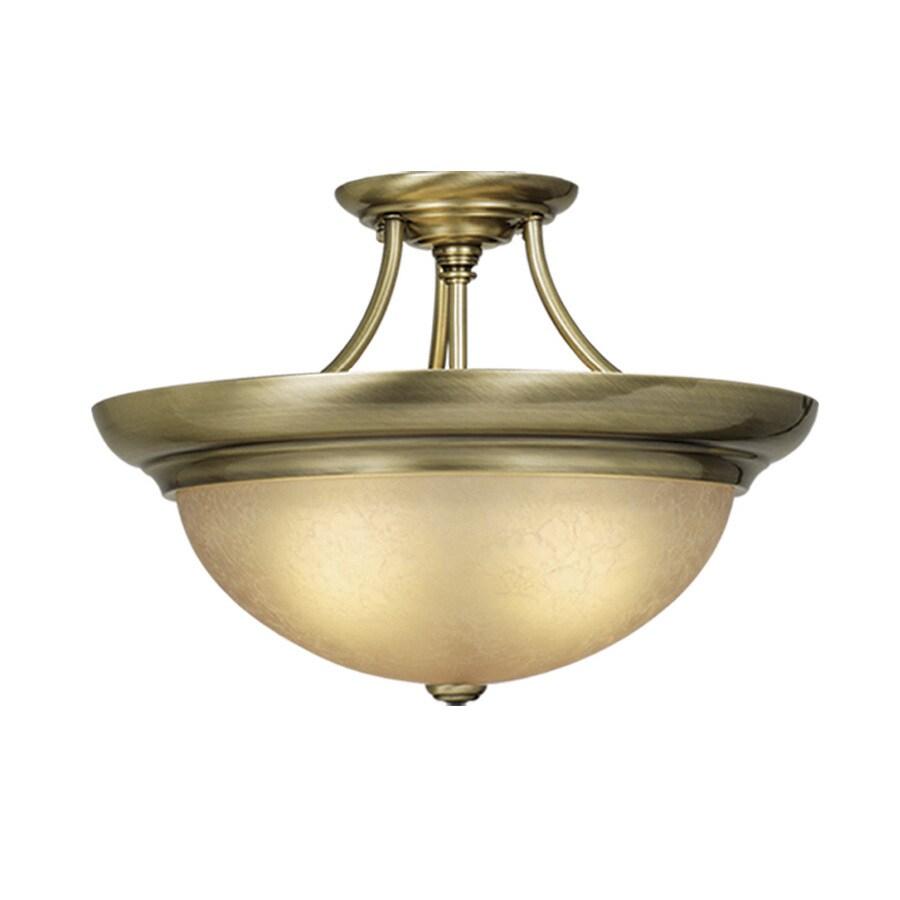 Cascadia Lighting 15-in W Antique Brass Semi-Flush Mount Light