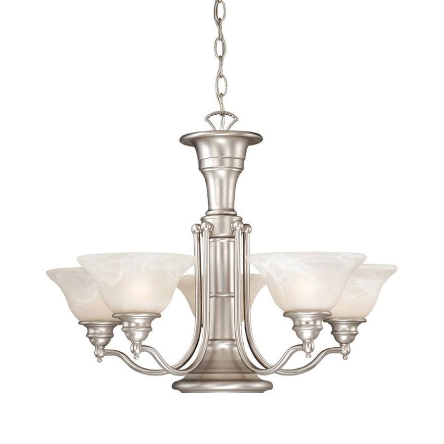 Cascadia Lighting Standford 25-in 6-Light Brushed Nickel Alabaster Glass Shaded Chandelier