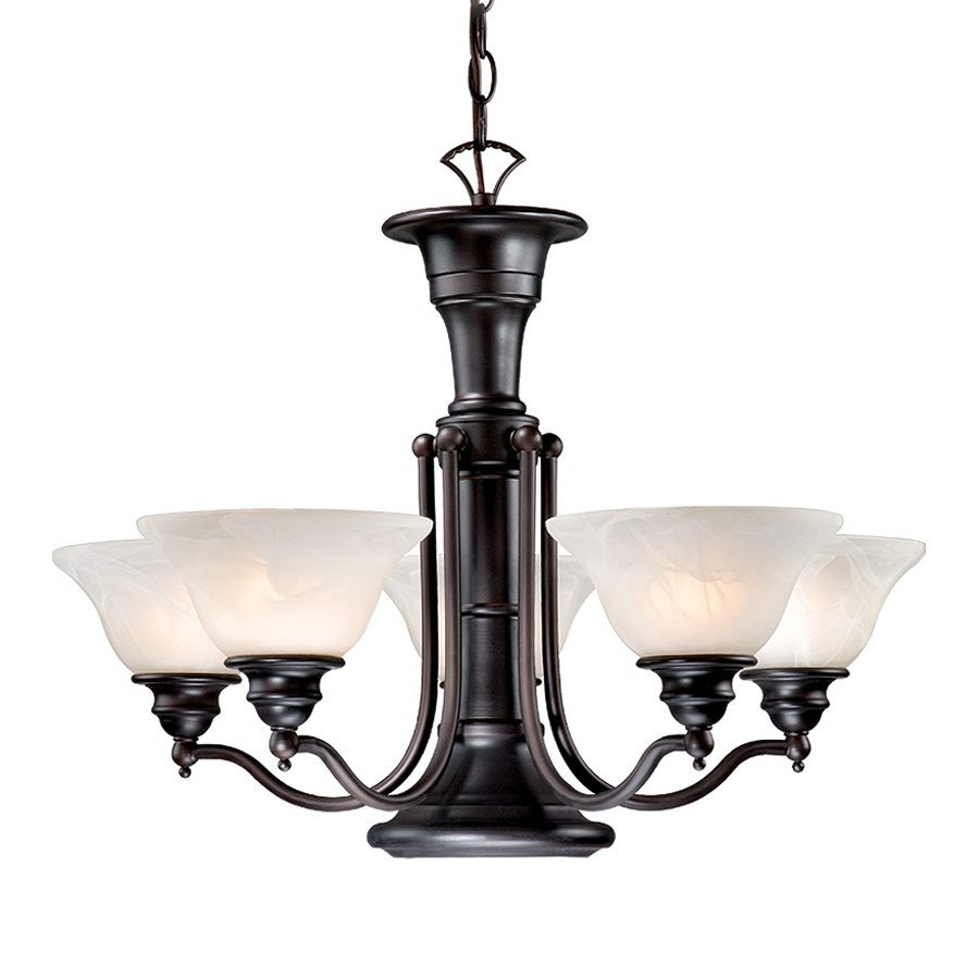 Cascadia Lighting Standford 25-in 6-Light Oil-Burnished Bronze Alabaster Glass Shaded Chandelier