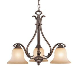 cascadia lighting monrovia 23in 3light royal bronze tinted glass shaded chandelier