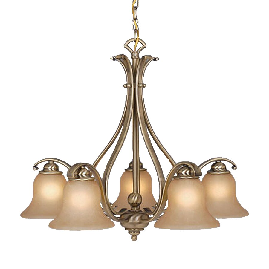 Cascadia Lighting Monrovia 28-in 5-Light Antique Brass Mediterranean Tinted Glass Shaded Chandelier