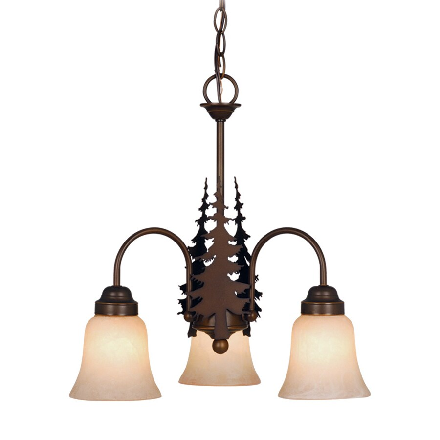 Cascadia Lighting Yellowstone 18.5-in 3-Light Burnished Bronze Rustic Tinted Glass Shaded Chandelier