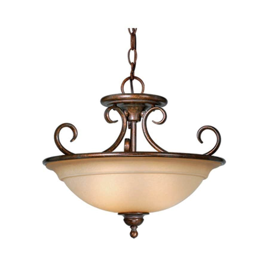 Cascadia Lighting Omni 16.5-in W Royal Bronze Tea-Stained Glass Semi-Flush Mount Light