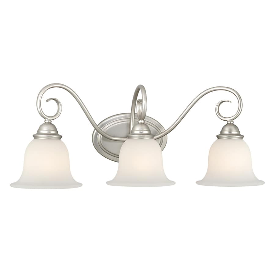 lighting 3 light picasso brushed nickel bathroom vanity light at lowes. Black Bedroom Furniture Sets. Home Design Ideas