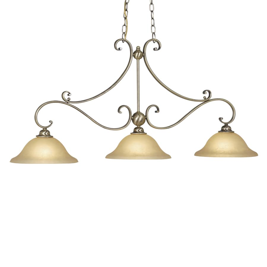 Cascadia Lighting Monrovia 11-in W 3-Light Antique Brass Kitchen Island Light with Tinted Shade