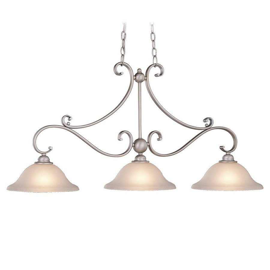 Cascadia Lighting Monrovia 11-in W 3-Light Brushed Nickel Kitchen Island Light with Frosted Shade