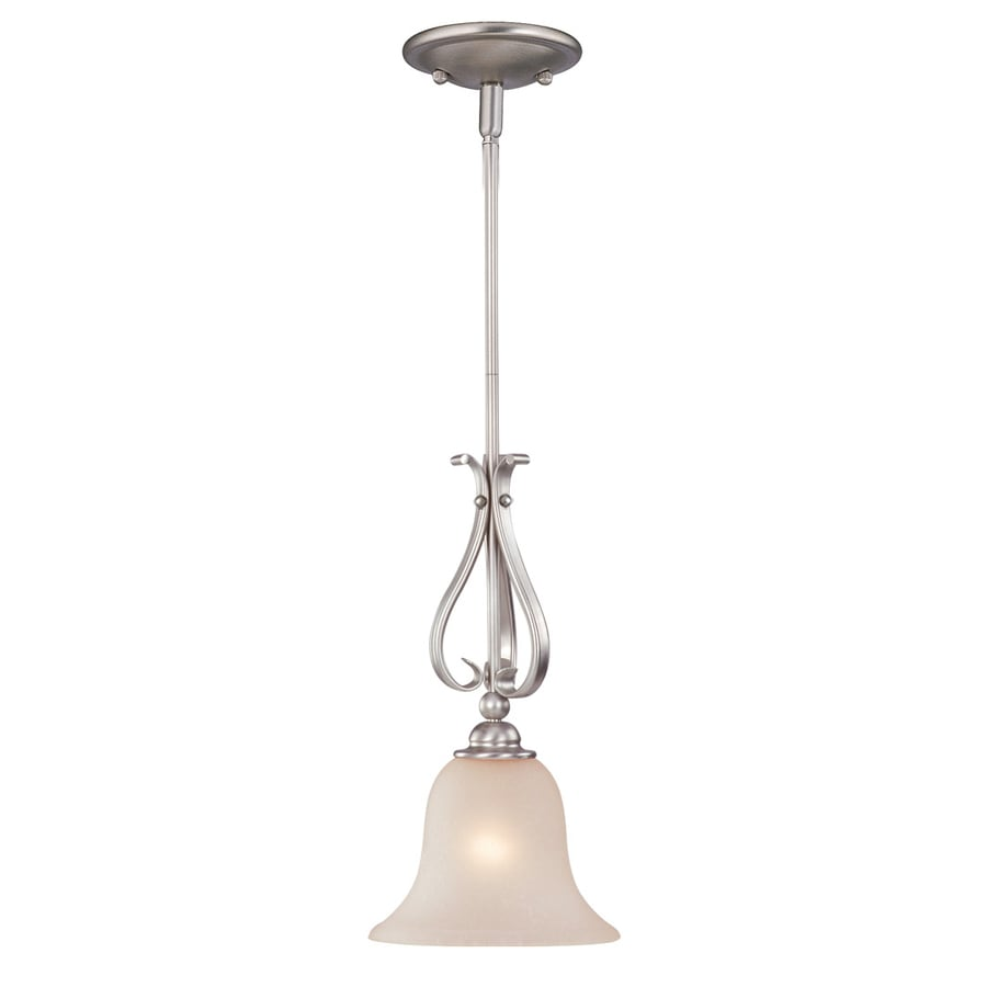Cascadia Lighting Monrovia 8.75-in Brushed Nickel Vintage Mini Seeded Glass Bell Pendant