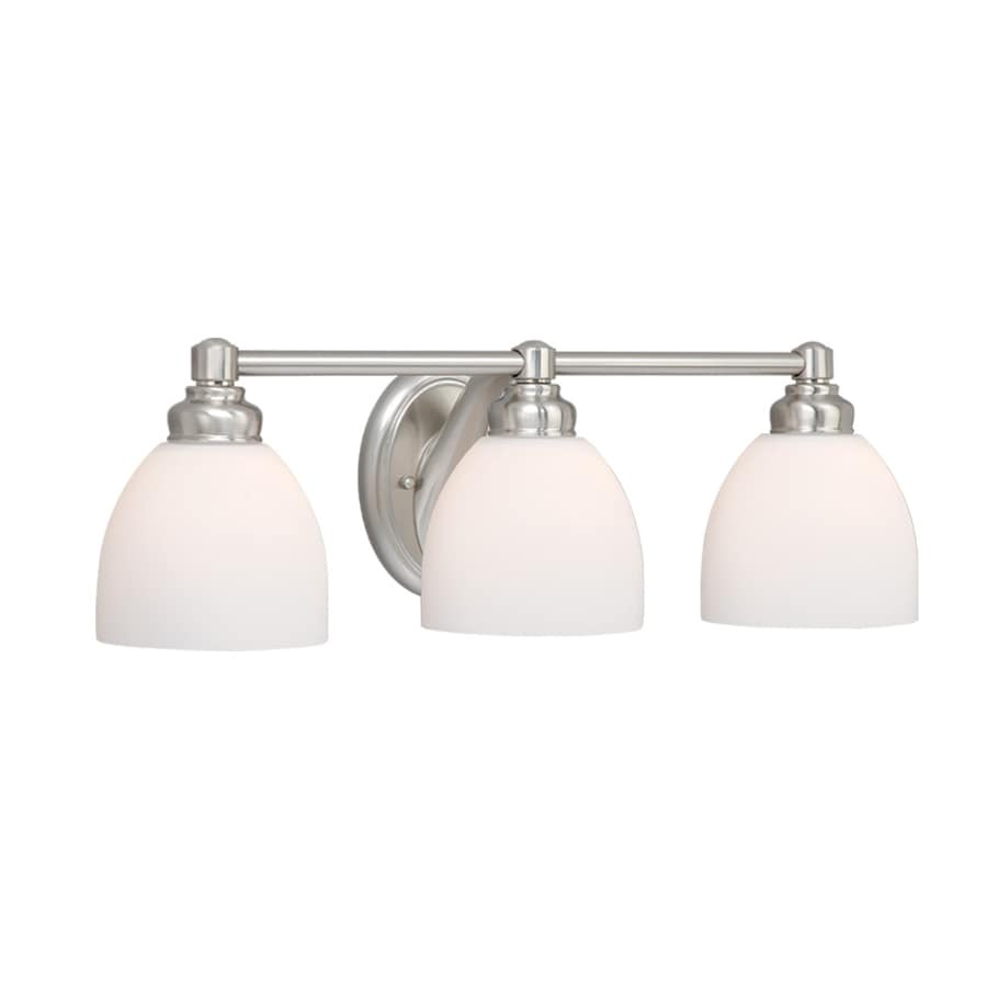 bathroom vanity light shop cascadia lighting stockholm 3 light 23 75 in brushed 11915