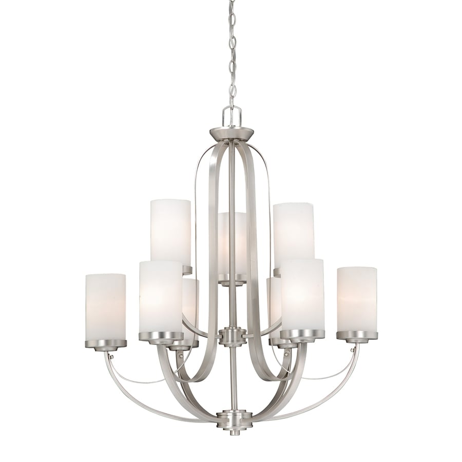Cascadia Lighting Oxford 29-in 9-Light Brushed Nickel Tiered Chandelier