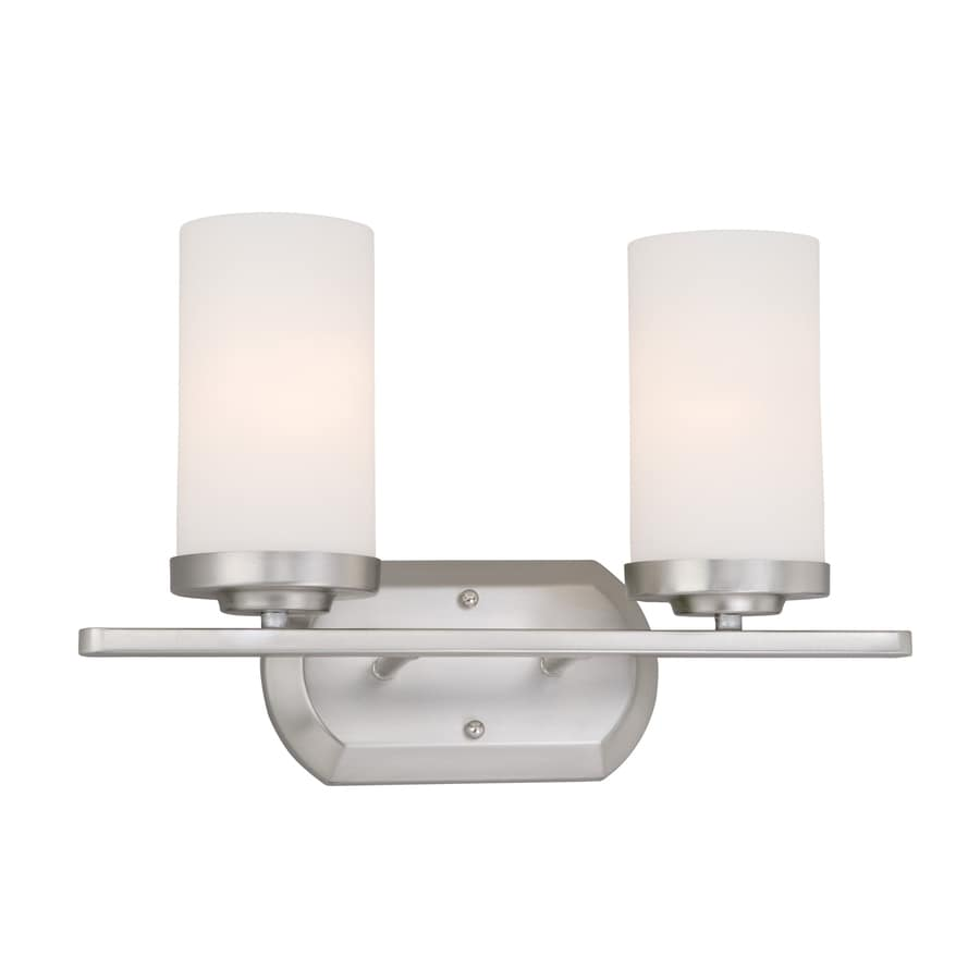 Cascadia Lighting Oxford 2-Light 10.5-in Brushed Nickel Cylinder Vanity Light
