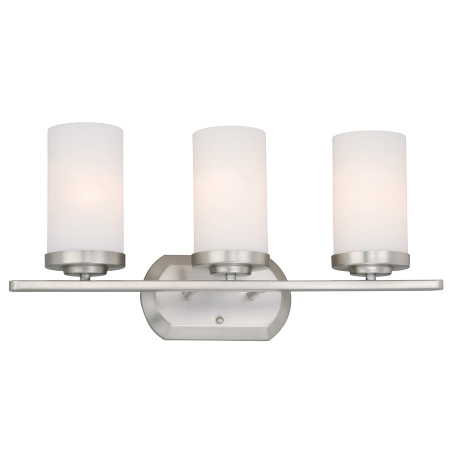 Cascadia Lighting Oxford 3-Light 10.5-in Brushed Nickel Cylinder Vanity Light