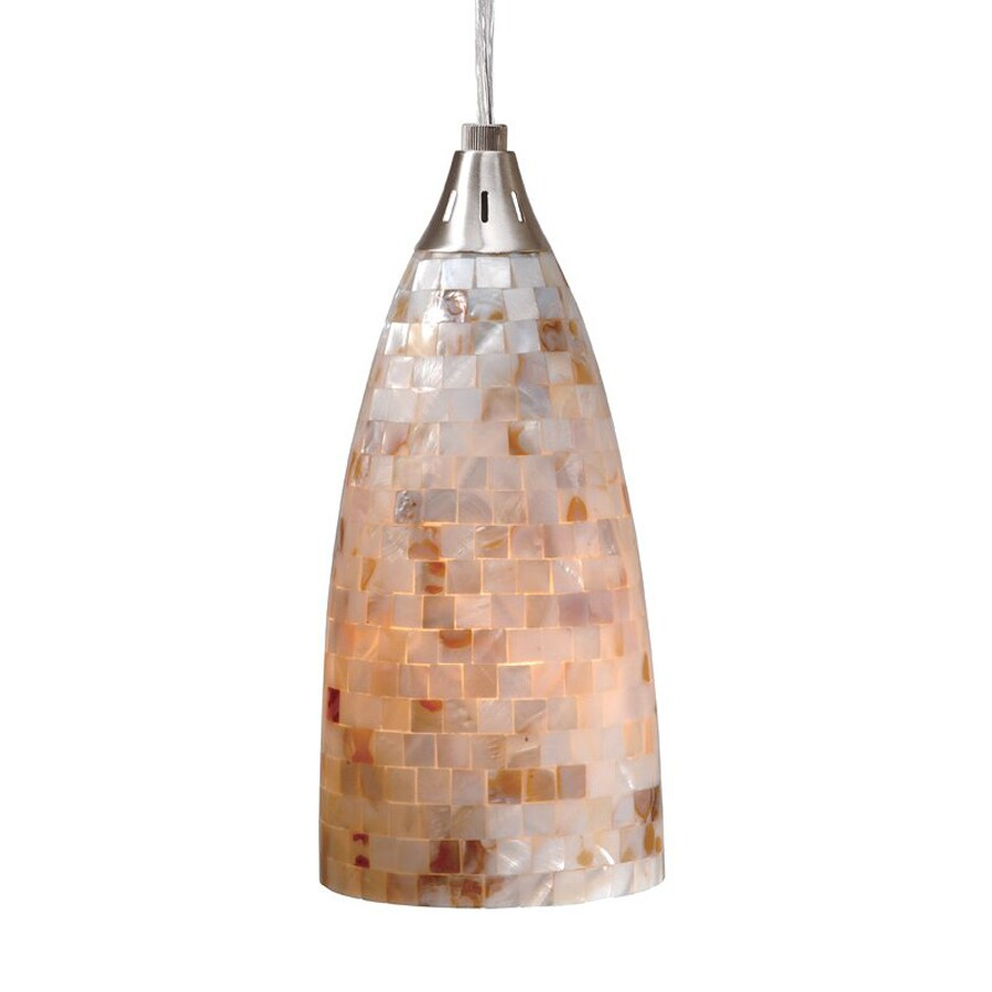 Cascadia Lighting Milano 4-in Satin Nickel Coastal Mini Textured Glass Cone Pendant