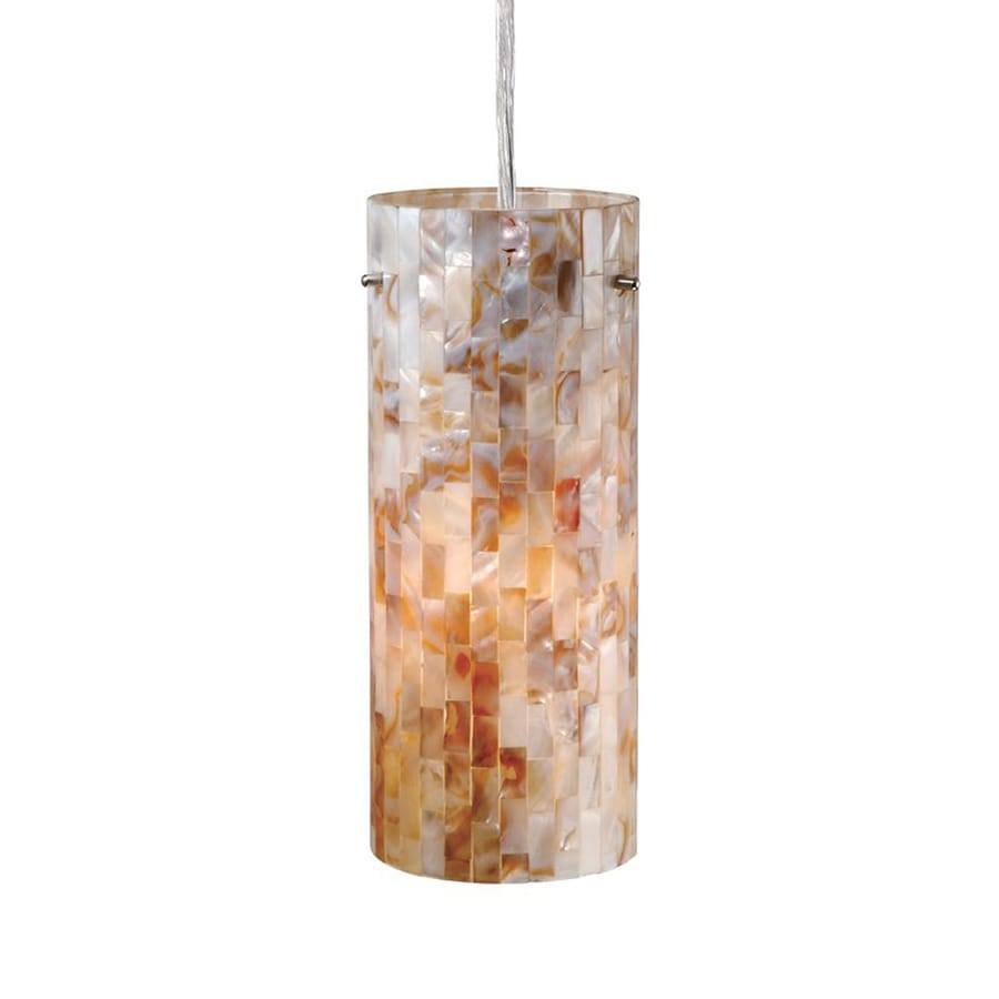Cascadia Lighting Milano 4-in Satin Nickel Coastal Mini Textured Glass Cylinder Pendant