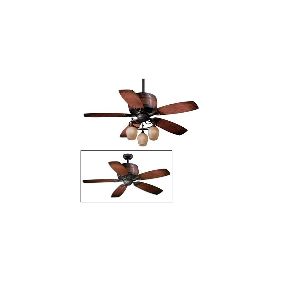 Cascadia Lighting 52-in Cabernet Oil-Rubbed Bronze Ceiling Fan with Light Kit and Remote