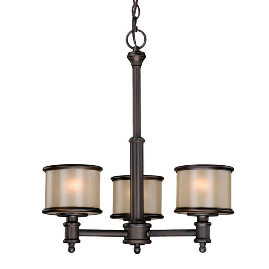 Cascadia Lighting Carlisle 18.5-in 3-Light Noble Bronze Craftsman Tinted Glass Shaded Chandelier