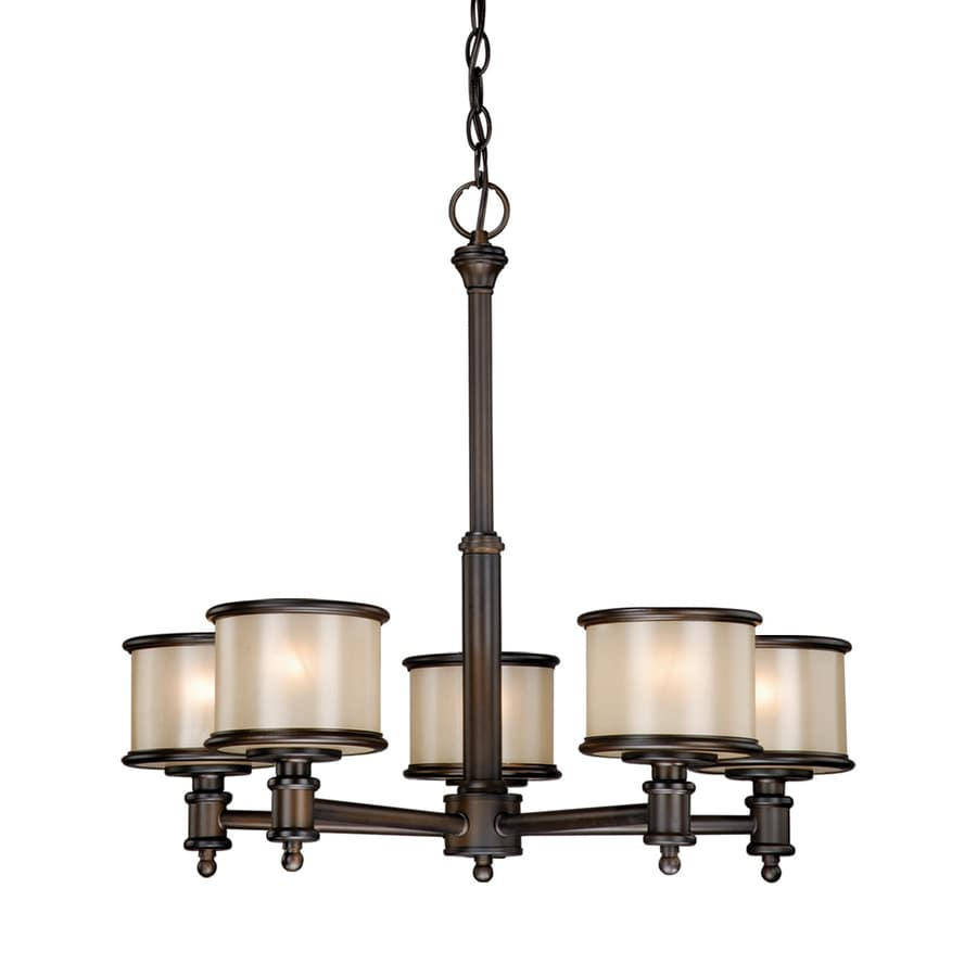 Cascadia Lighting Carlisle 24-in 5-Light Noble Bronze Craftsman Tinted Glass Shaded Chandelier