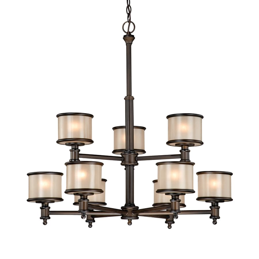 Cascadia Lighting Carlisle 30-in 9-Light Noble Bronze Craftsman Tinted Glass Tiered Chandelier