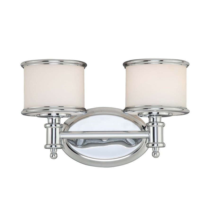Shop cascadia lighting carlisle 2 light 8 in chrome drum for Bathroom 2 light fixtures