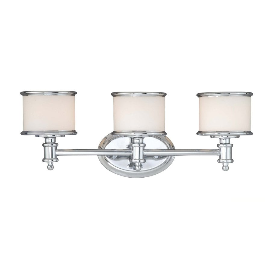 Vanity Lights In Chrome : Shop Cascadia Lighting Carlisle 3-Light 8-in Chrome Drum Vanity Light at Lowes.com