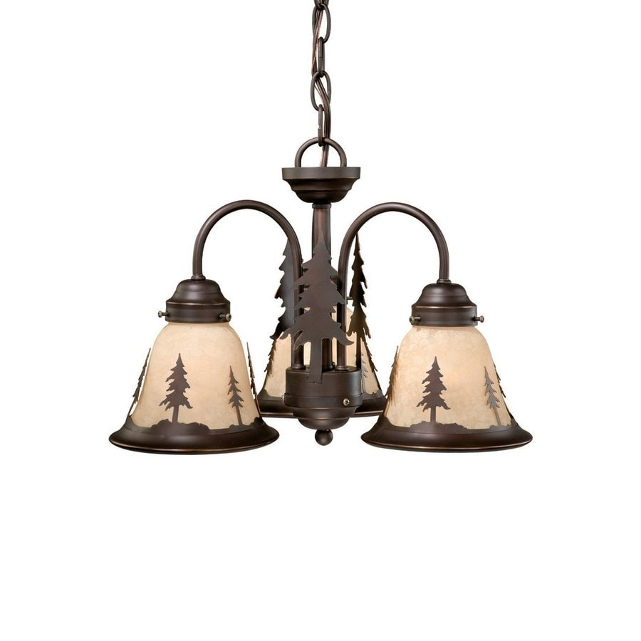 Cascadia Lighting Yosemite 16-in 3-Light Burnished Bronze Rustic Tinted Glass Shaded Chandelier